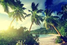 zachód słońca na Takamaka Beach, Mahe Island, Seszele