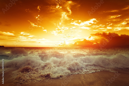 canvas print picture sunset on Seychelles beach