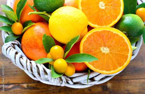 Citrus fruits, oranges, lemon, kumquats, lime, mandarin.