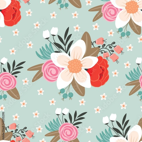 Seamless pattern with beautiful hand drawn floral background