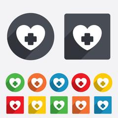 Medical heart sign icon. Cross symbol.
