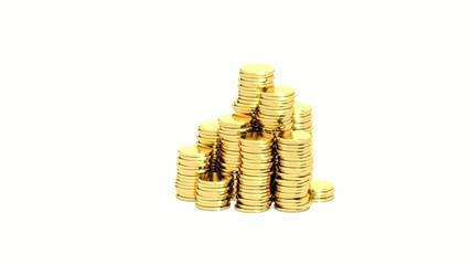 Rising heap of golden coins