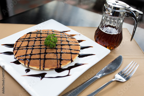 Pancake with honey syrup and Chocolate sauce