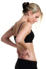 blonde woman with backpain