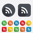 RSS sign icon. RSS feed symbol.
