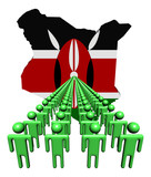 Lines of people with Kenya map flag illustration