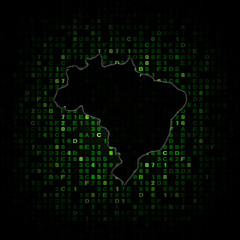 Brazil map silhouette on hex code illustration