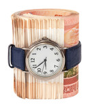 Russian rubles bills wrapped by belt with watch isolated on whit