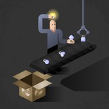 Idea Finder. Illustrated allegory of inventions