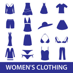 womens clothing icon set eps10