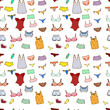 Vector seamless pattern with panty, lingerie and underwear