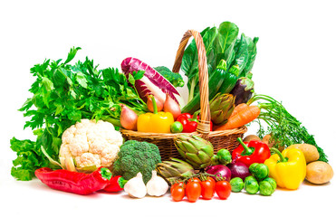 mix of season vegetables in wicker basket