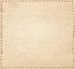 Light brown leather jeans label