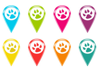 Set of icons or colored markers with animal footprints symbol