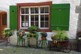 rustic window with green shutters and flower pots