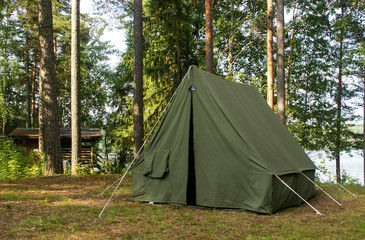 Oldschool soviet tent in nothern forest