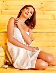 Girl in sauna.