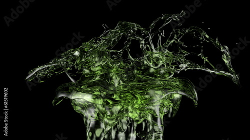 green tea splash in extreme slow motion, isolated on black