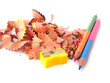 Colored pencil shavings