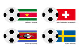 Soccer Ball with Suriname, Switzerland, Sweden Flag
