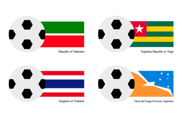 Football with Tatarstan, Togo, Thailand and  Fuego Flag