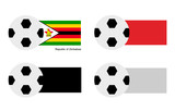 Football with Zimbabwe Flag with Red, Black and White Flag