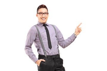 Stylish smiling male pointing