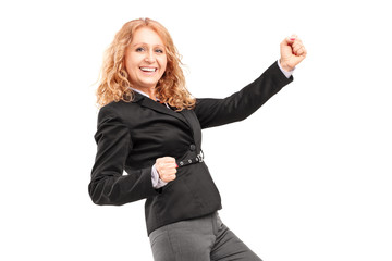 Woman gesturing happiness