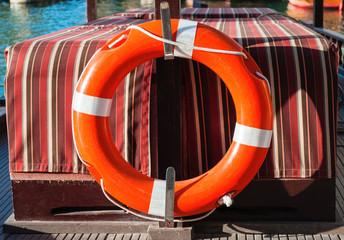 Life belt on a boat