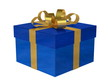 Blue gift box with golden bow