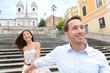 Romantic travel couple, Spanish Steps, Rome, Italy