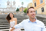 Romantic travel couple, Spanish Steps, Rome, Italy