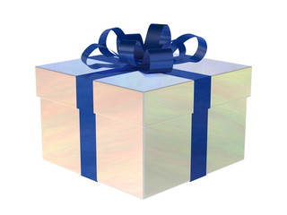 Pearl gift box with blue bow