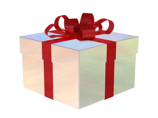 Pearl gift box with red bow
