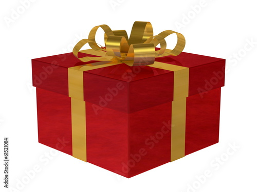 Reflective smoky red gift box with golden bow