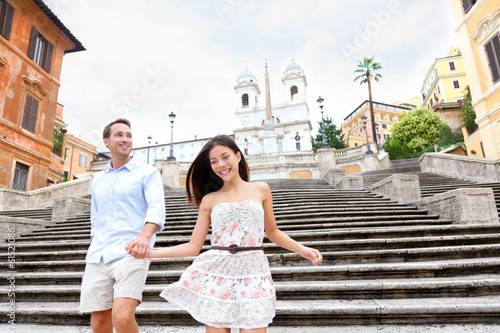 Happy couple on Spanish Steps, Rome, Italy