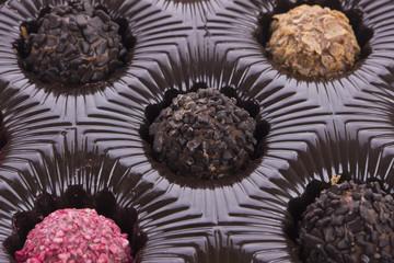 Box of chocolate truffle close up