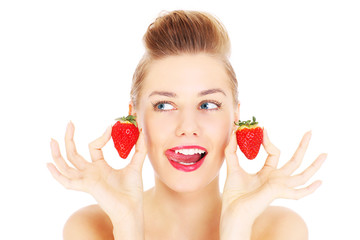 Woman and strawberries