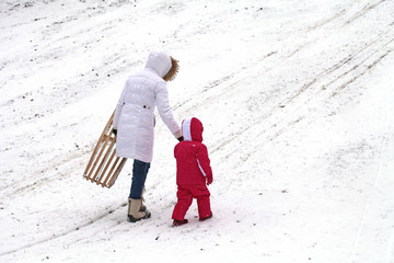 Mother and daughter sledding at winter