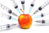 gmo / gmo food / injection of a rotten apple