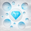 blue pure diamond with glossy bubbles in the air with flare