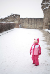 Cute little girl int he snow