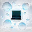 flying laptop with glossy bubbles in the air with flare