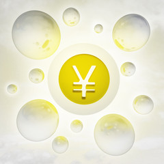 golden Yen coin with glossy bubbles in the air with flare
