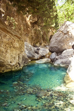 Beautiful mountain river with clear blue water