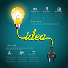 Creative light bulb idea abstract infographic, Inspiration conce