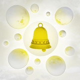 golden bell with glossy bubbles in the air with flare