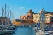 The old Vieux port of Marseille with Saint Laurent at back