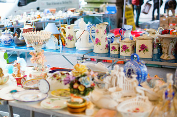 Vintage dishes on a Parisian flea market