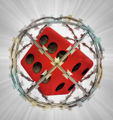 protected lucky dice in barbed sphere fence